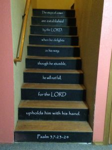 vinyl wall decal installation example on stairs