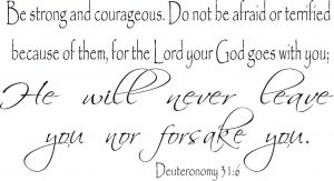 Deuteronomy 31:6 Scripture Wall Decal Image