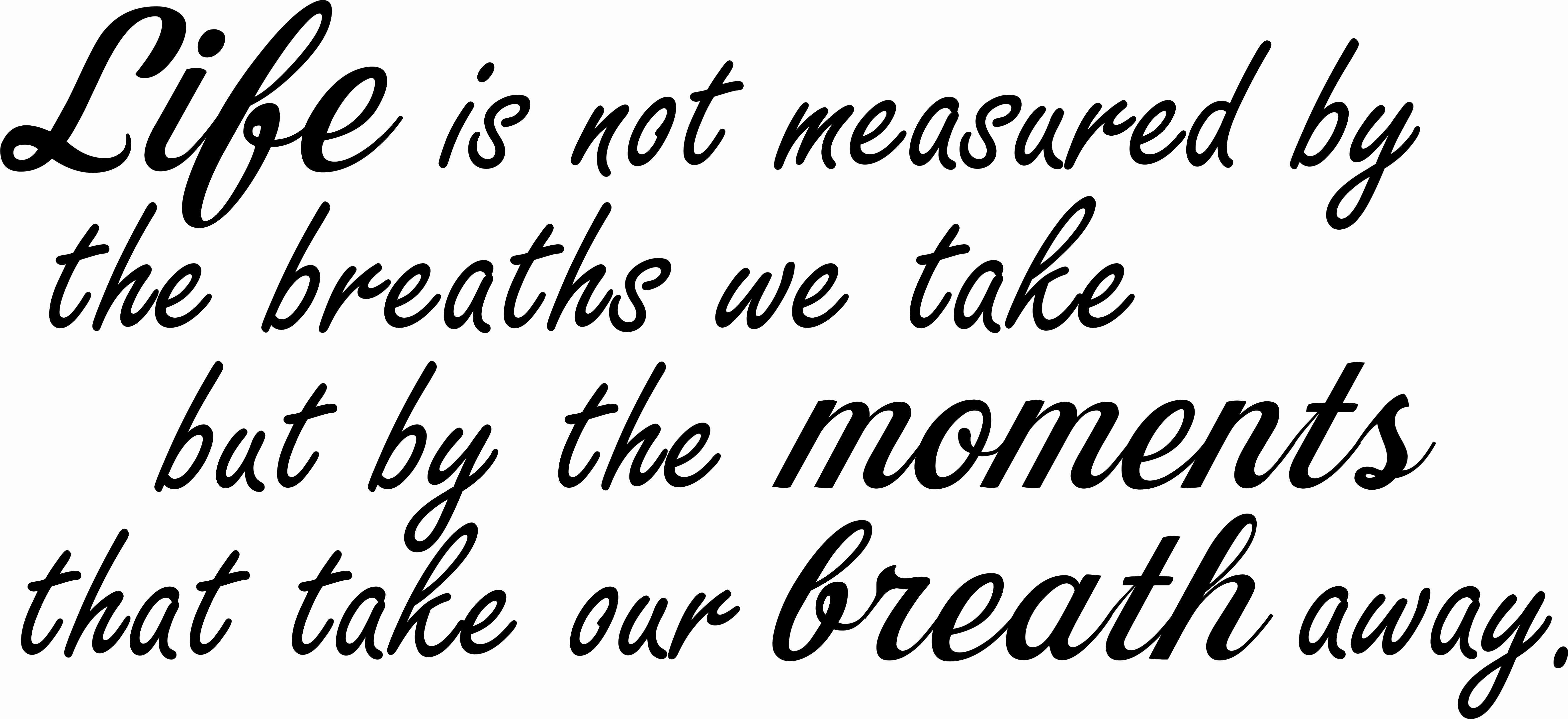 Life is not measured wall quote