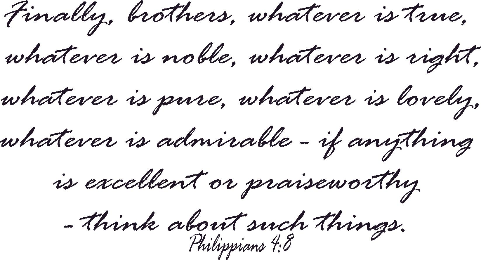 Philippians 4:8 Bible Verse Wall Quote