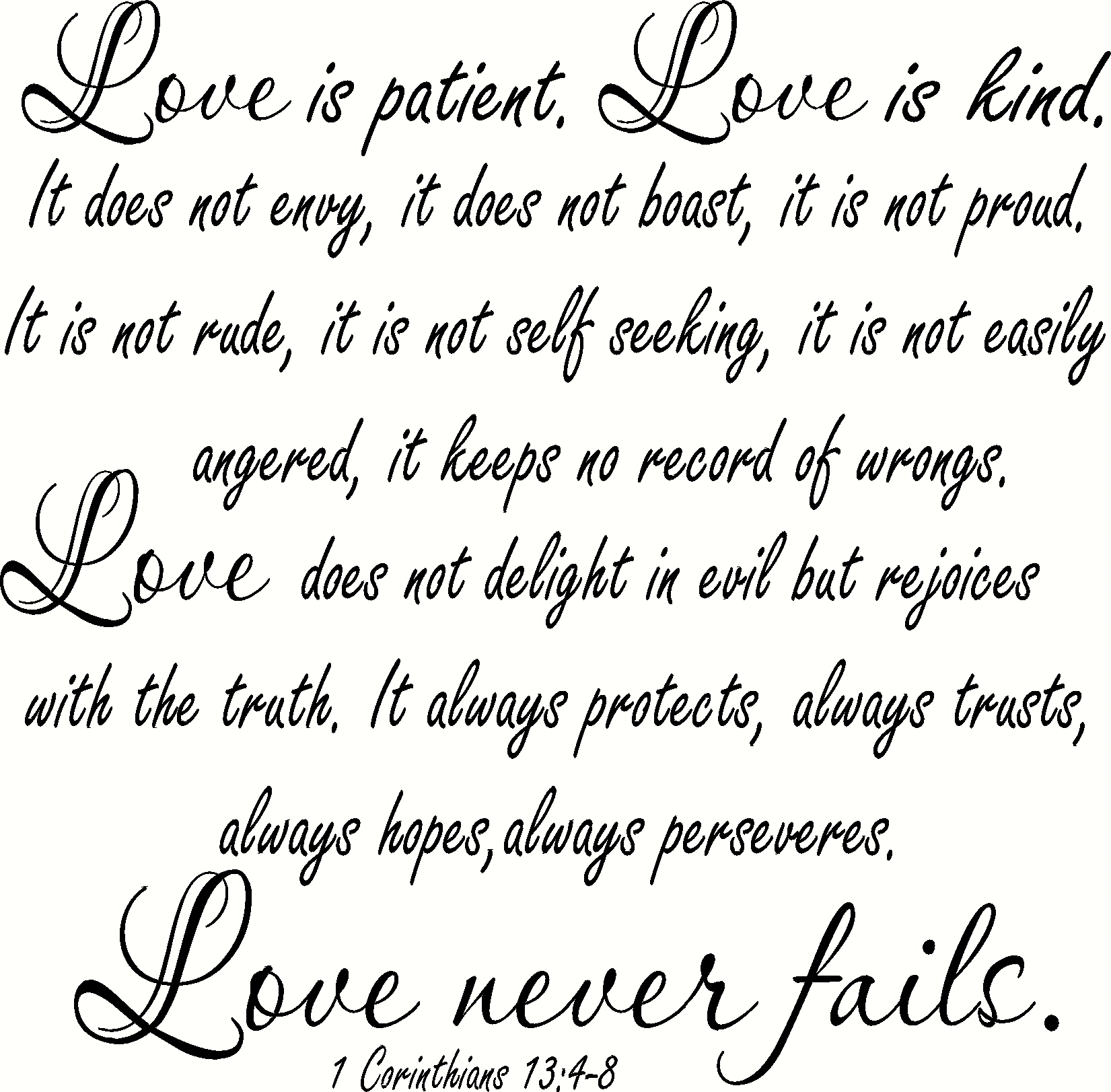 1 Corinthians 13:4-8 Bible Verse Wall Quote