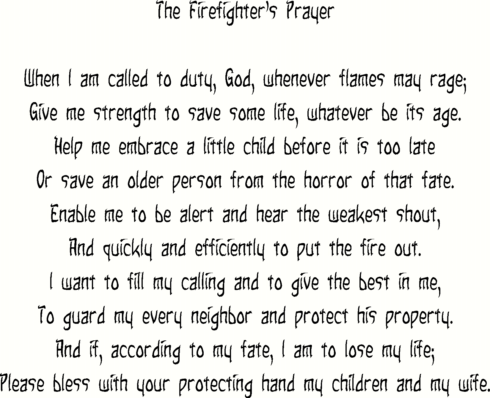 The Firefighters Prayer Christian Inspirational Quotes