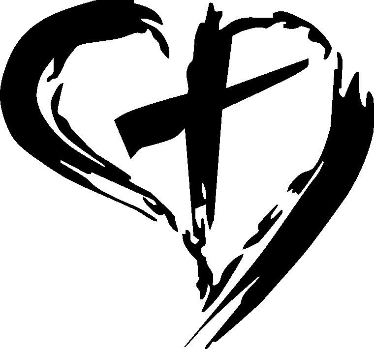Cross in Heart Wall Decal