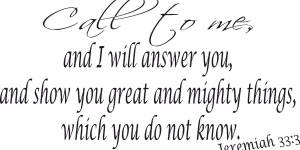 Jeremiah 33:3 Bible Verse Wall Decal
