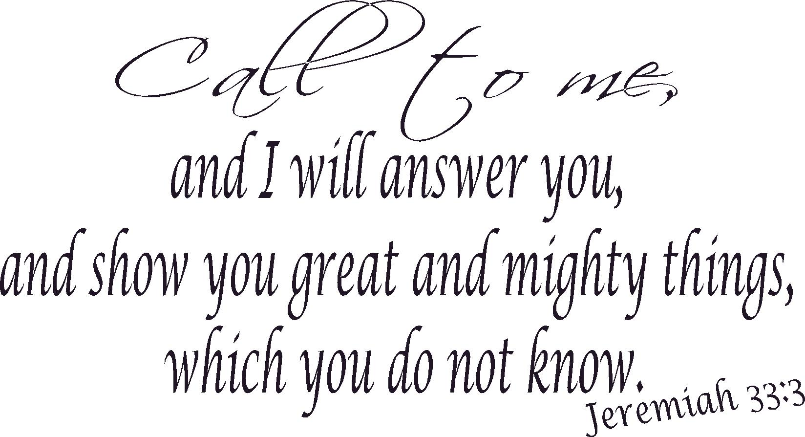 Vinyl Scripture Wall Decal Jeremiah 33:3