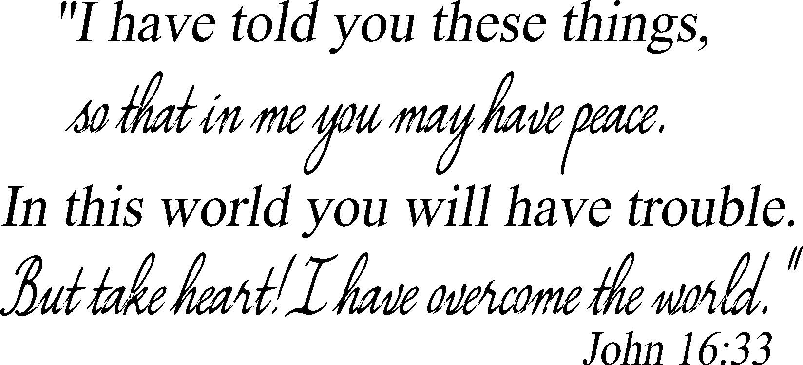 Scripture Wall Decal John 16:33