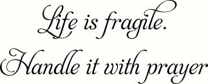 Life Is Fragile ~ Vinyl Wall Decal by Scripture Wall Art Image