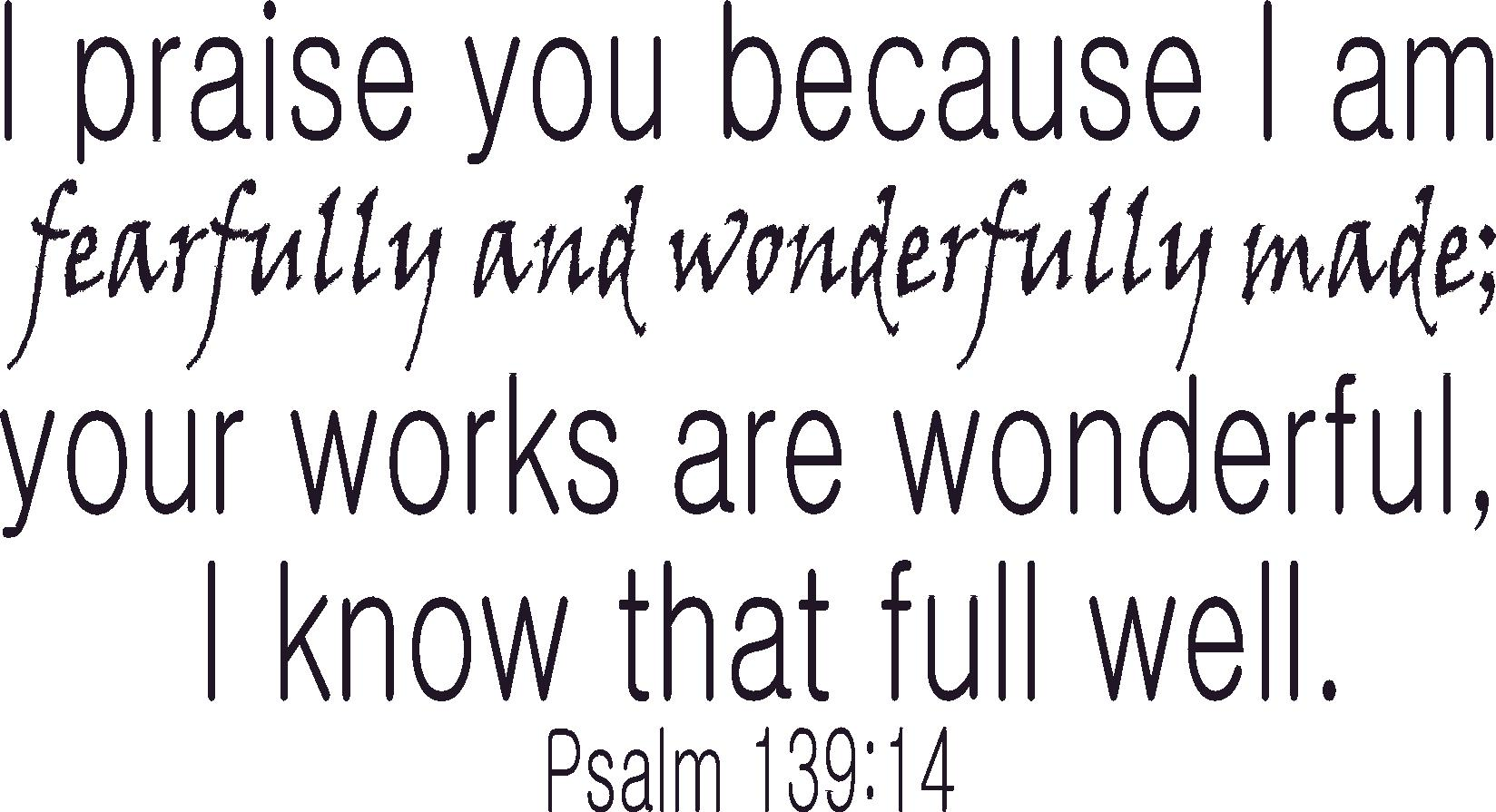 Psalm 139:14 Inspirational Bible Quotes Wall Decal