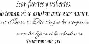 Deuteronomio 31:6 Spanish Vinyl Wall Decal By Scripture Wall Art