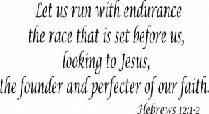 Hebrews 12:1-2 Vinyl Wall Decals by Scripture Wall Art Image