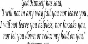 Hebrews 13:5 Vinyl Wall Decals By Scripture Wall Art