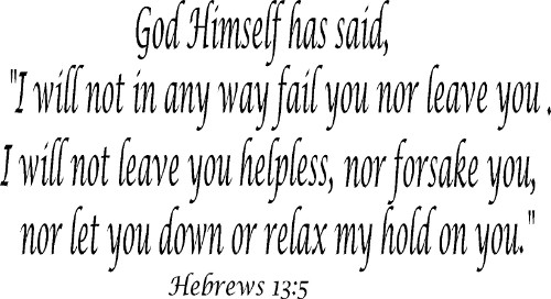 Hebrews 13:5 Christian Wall Decal