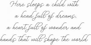 Here Sleeps A Child ~ Vinyl Wall Decal By Scripture Wall Art