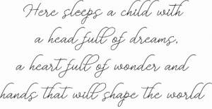Here Sleeps A Child ~ Vinyl Wall Decal by Scripture Wall Art Image