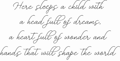 Here sleeps a child vinyl wall decal for kids