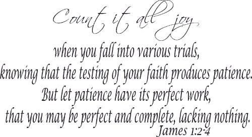 James 1:2-4 Inspirational Bible Verse Wall Decal