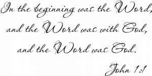 John 1:1 Vinyl Wall Decal by Scripture Wall Art Image