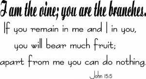 John 15:5 Vinyl Wall Decals by Scripture Wall Art Image