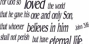 John 3:16 Vinyl Wall Decals By Scripture Wall Art