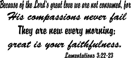 Lamentations 3:22-24 Old Testament Vinyl Wall Decal