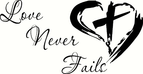 love never fails christian inspirational vinyl wall decal