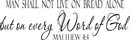 Matthew 4:4 Christian Vinyl Wall Decal