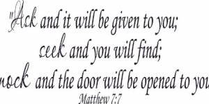 Matthew 7:7 ~ Vinyl Wall Decal By Scripture Wall Art