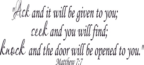 Matthew 7:7 Bible Verse Vinyl Wall Decal