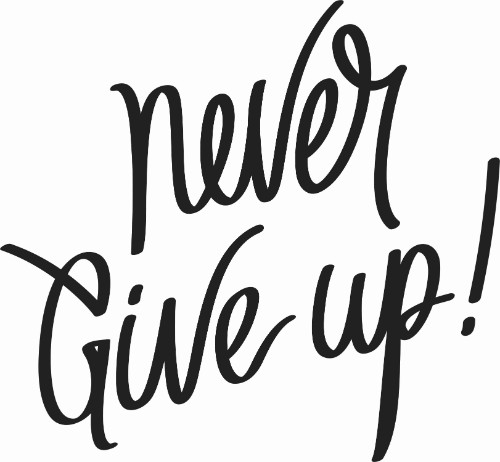 Never Give Up Vinyl Wall Decal ~ Motivational