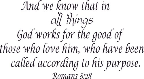 Romans 8:28 Bible Verse Wall Decal