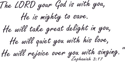 Zephaniah 3:17 Christian Vinyl Wall Decal
